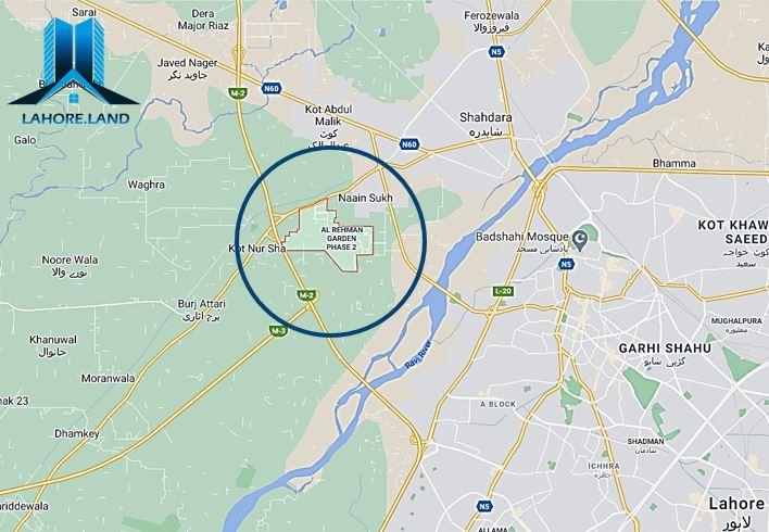 Location of Al Rehman Garden Lahore Phase 2