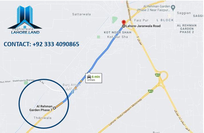 Location of Al Rehman Garden Lahore Phase 7